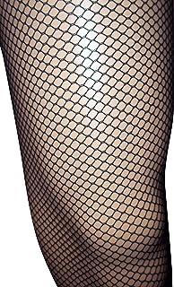 Emmas Wardrobe Black Fishnet Tights | Diamond Net Leggings with Elastic Waist | One Size Fits All (Black)