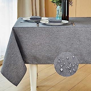 رومیزی پارچه ای تزئینی ضد انقباض نرم و ضد چین و چروک پارچه رومیزی Mebakuk Rectangle Rens Linens پارچه سفره ای ضد آشپزخانه برای آشپزخانه (بلند 52 70 70 اینچ (4-6 صندلی) ، خاکستری تیره)