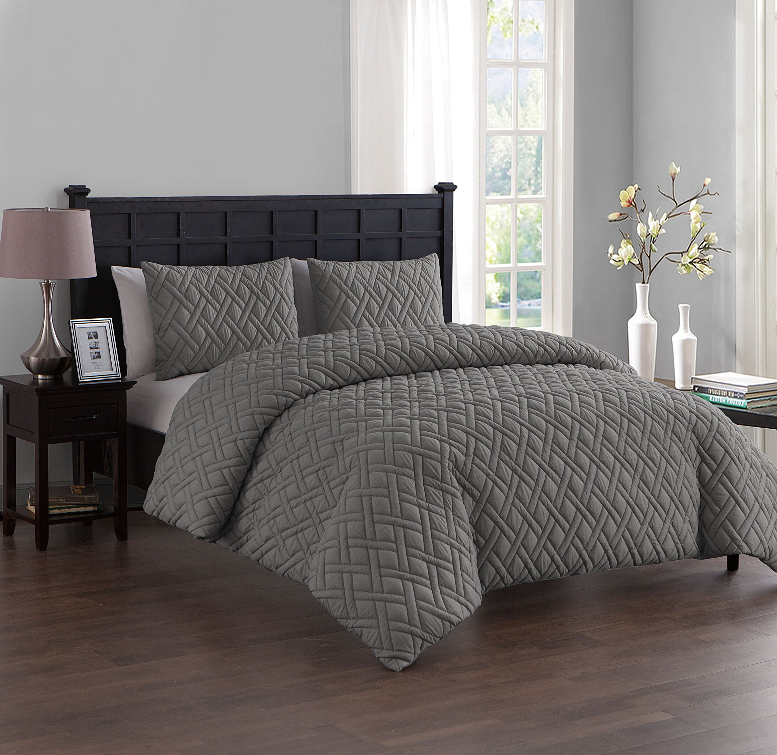 Blue, Twin 68/×90 M/&Meagle 3 Pieces Solid Duvet Cover Textured Set with Zipper Closure,100/% Washed Microfiber Seersucker Fabric,Luxury Hotel Quality Bedding