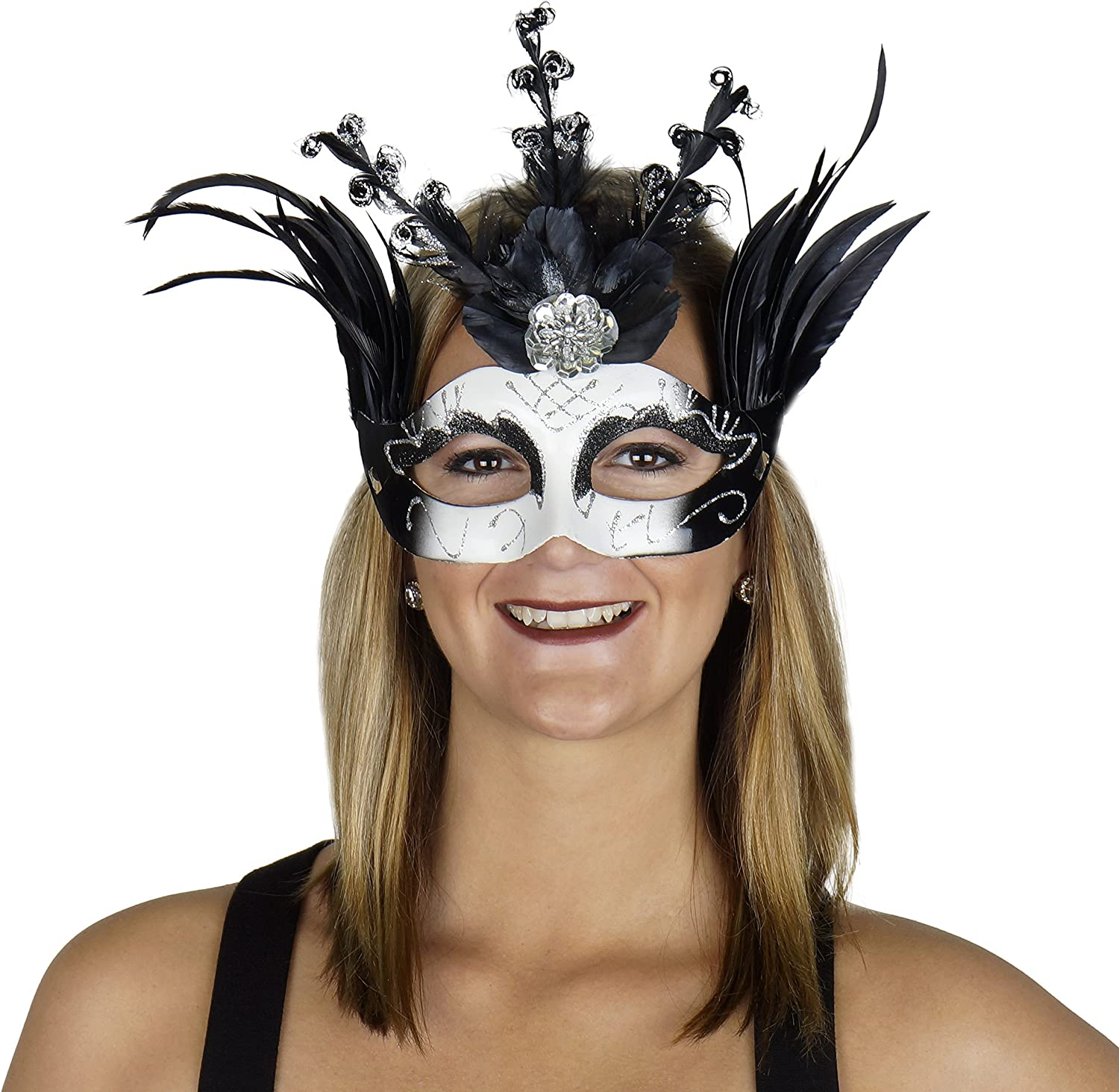 Zucker Feather Products Queen of Hearts Black Feather MASK