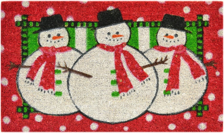 Imports Decor Printed Coir Doormat, Three Snowmen, 18-Inch by 30-Inch
