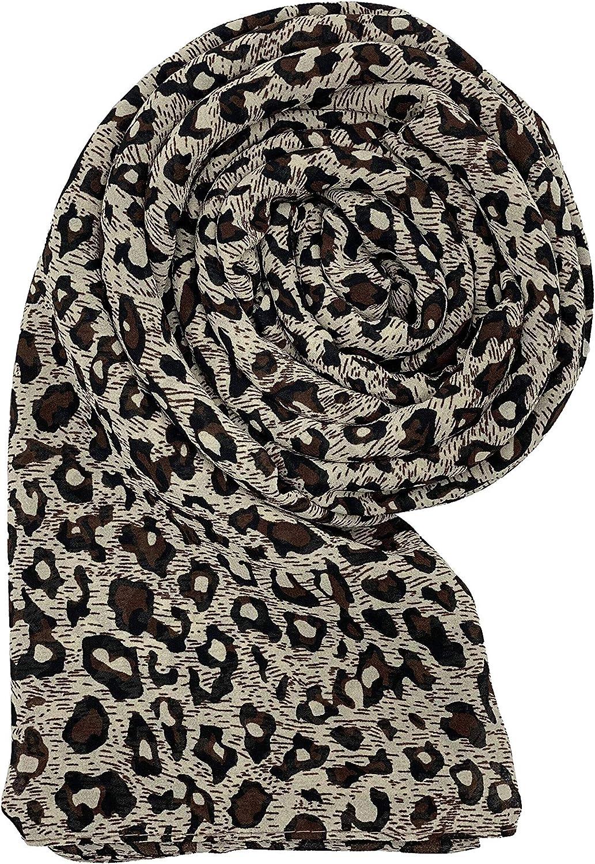 Generic Women's Brown (Tiger Print) Chiffon Crepe Print Hijab Scarf, One Size