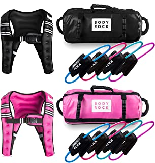 SWEATFLIX His and Her Resistance Bands & Home Workout Equipment: BodyRock Total Body Fitness Exercise Equipment- Home Gym Training Kit Includes Resistance Bands Set, Sandbag, Weighted Vest