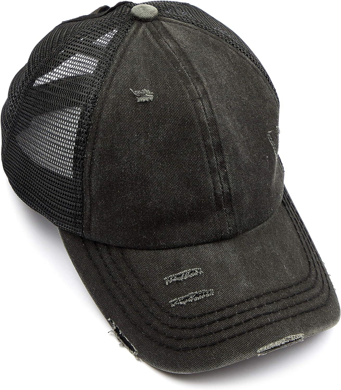 C.C Exclusives Washed Distressed Cotton Denim Criss-Cross Ponytail Hat Baseball Cap Bundle Hair Tie (BT-780)(BT-791)