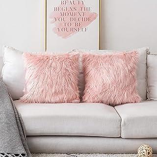 Loft Collection Faux Fur Reversible Decorative Pillow Pink