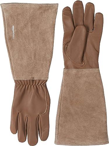 Amazon Basics Gants de jardinage avec protection des avant-bras, cuir, marron, taille M