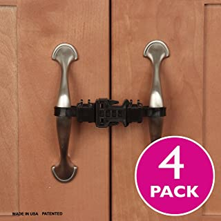 Kiscords Baby Safety Cabinet Locks for Handles Child Safety Cabinet Latches for Home Safety Strap for Baby Proofing Cabinets Kitchen Door RV No Drill No Screw No Adhesive /4 Pack (Black)
