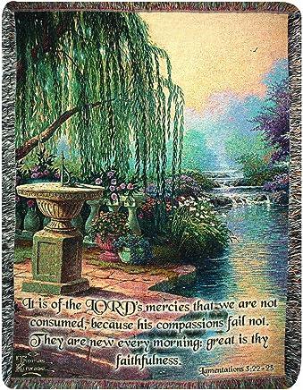 Manual Thomas Kinkade 50 x 60-Inch Tapestry Throw with Verse,  Hour of Prayer