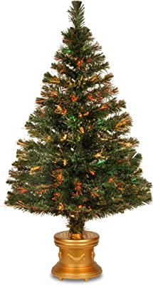 National Tree 48 Inch Fiber Optic Flocked Evergreen Firework Tree with Multicolored Lights in Gold Base (SZEX7-100L-48)
