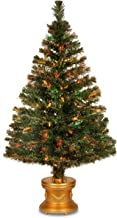 National Tree 48 Inch Fiber Optic Flocked Evergreen Firework Tree with Multicolored Lights in Silver Base (SZEX7-100L-48)