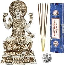 Lakshmi - Altar Supply Kit - 8 inch (H) Antique Ivory Lakshmi Statue Hindu Goddess of Wealth Fortune and Prosperity ~ 100 Gram Satya Sai Baba Nag Champa Incense Sticks and Lotus Sri Yantra Ornament