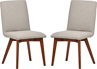 Rivet Ricky Mid-Century Modern Set of 2 Upholstered Dining Room Kitchen Chairs, 37 Inch Height, Felt Grey