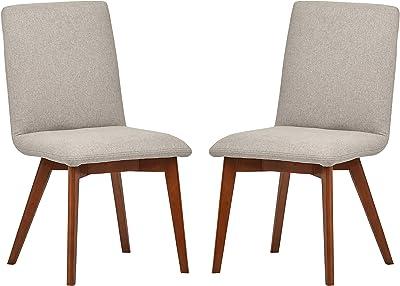 "Rivet Ricky Mid-Century 2-Pack Dining Chairs, 37"" H, Felt Grey"