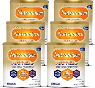 Nutramigen Hypoallergenic Baby Formula from Enfamil- Lactose Free Milk Powder, 12.6 ounce (Pack of 6) - Omega 3 DHA, Probi...