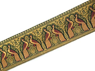 Indian Jacquard Brocade Trim in Green and Gold for Sewing and Crafts 3 Yards by Craftbot