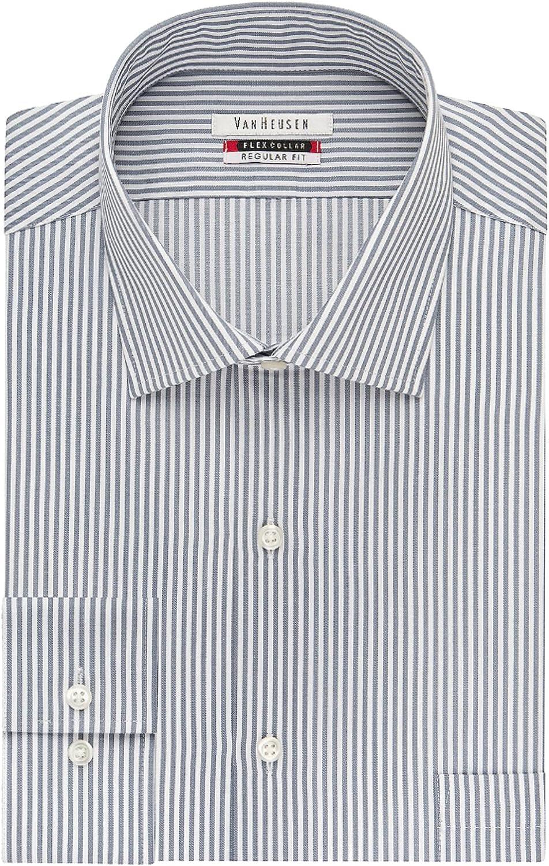 Van Heusen Men's Big and Tall Flex Fit Stripe Spread Collar Dress Shirt, Grey