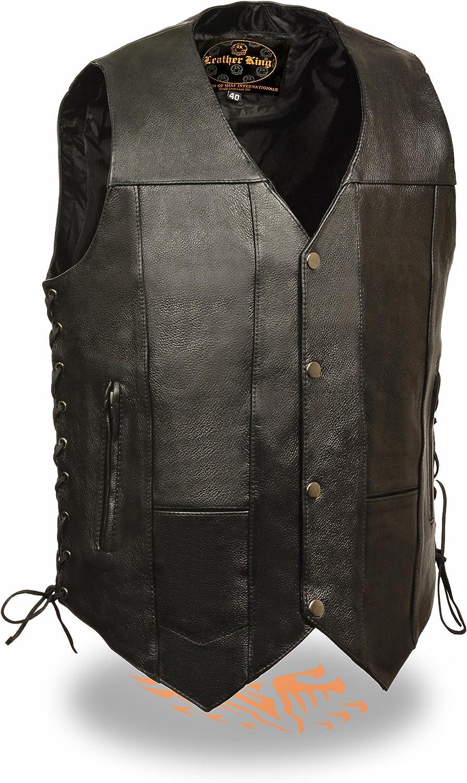 Leather King Men's Leather 10 Pocket Vest 58 Black