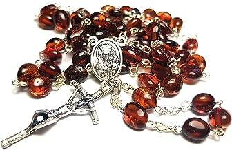 Amber Rosary Genuine Natural Baltic 5mm Bead 20.5 inch Long Hail Mary Lord's Prayer Glory Be Mystery Rosary Jesus Mary Santo Rosario Jesucristo Virgen María avemaría oración Ámbar báltico
