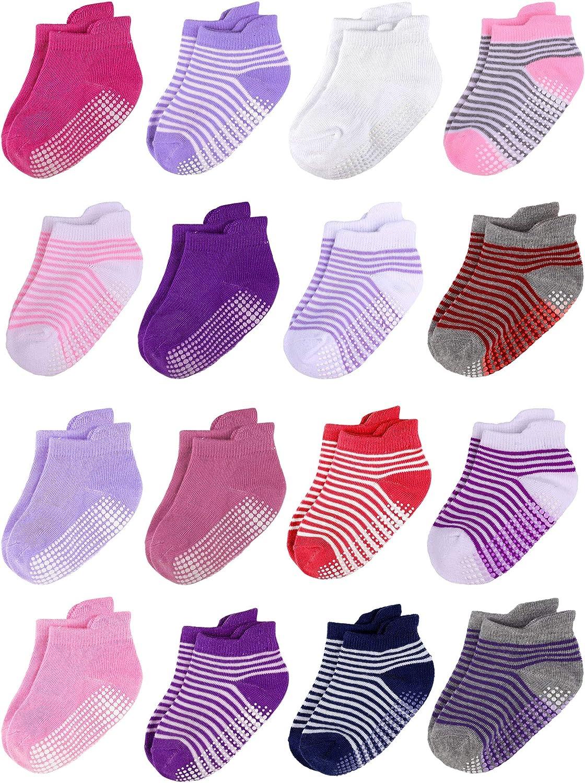 Cooraby 16 Pairs Non Slip Toddler Socks Grips Baby Ankle Socks Infants Socks for Boys and Girls