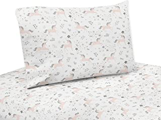 Sweet Jojo Designs Pink, Grey and Gold Queen Sheet Unicorn Collection-4 Piece Set