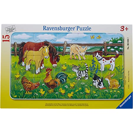 Ravensburger - 06046 - Puzzle Cadre - Animaux de la Ferme aux Pré - 15 pièces