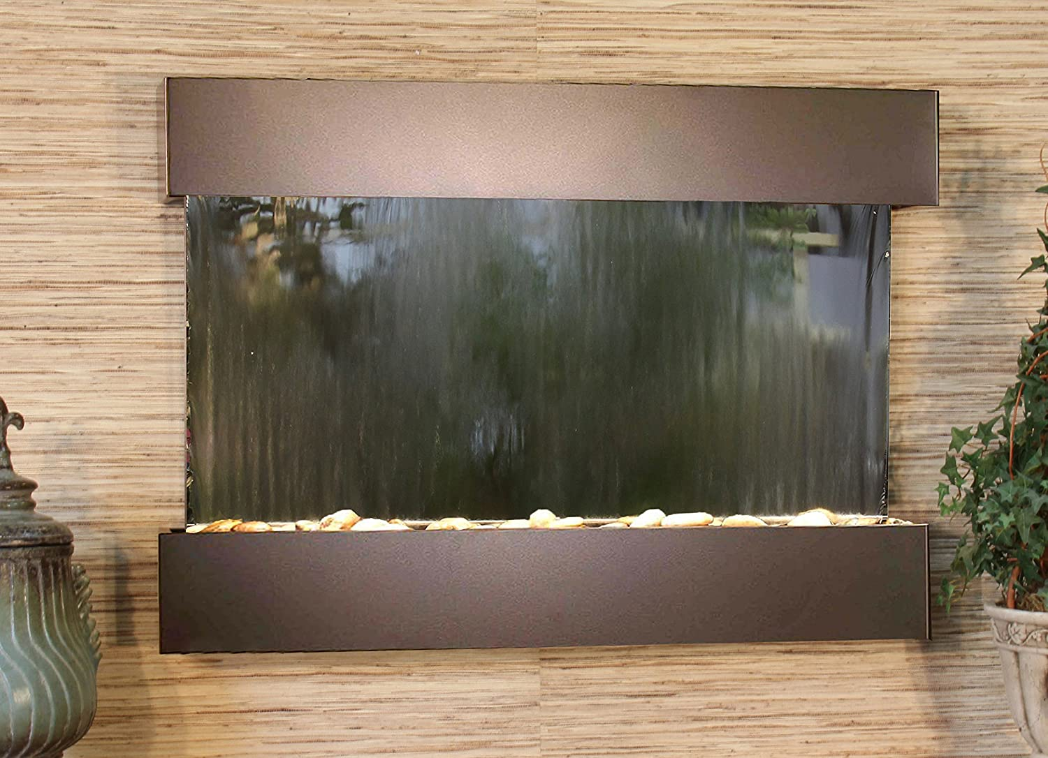 Reflection Creek Water Feature with Antique Bronze Trim and Square Edges Brown Marble