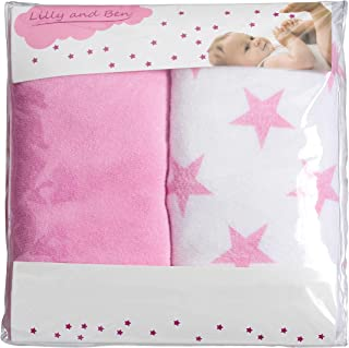 Diaper Change Pad Cover-s Girl Boy - Contoured Changing Mat Cover - Set of 2 - Pink White Stars