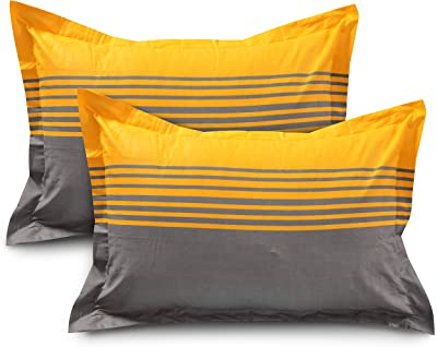 HUESLAND by Ahmedabad Cotton 144 TC Cotton King Bedsheet with 2 Pillow Covers - Yellow, Grey