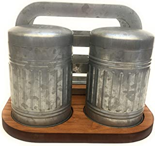 Better Home & Gardens Salt & Pepper Shakers With Napkin Holder-Galvanized Shakers and Napkin Holder on a Wood Base