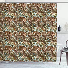 Ambesonne Paisley Shower Curtain, Flower Blossoms in Style Pattern Antique Swirled Design, Cloth Fabric Bathroom Decor Set with Hooks, 70 Long, Brown