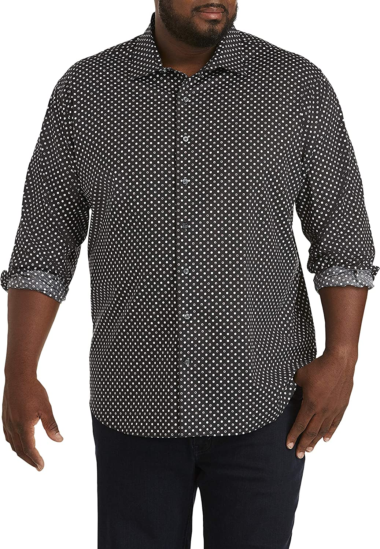 DXL Synrgy Big and Tall Roll Sleeve Stretch Sport Shirt, Caviar