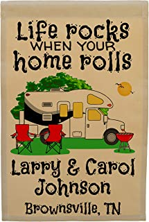 Life Rocks When Your Home Rolls Class C Motor Home Camp Flag Personalized with 3 Lines of Custom Text, Tan Fabric (Black)