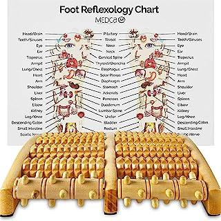 Rodillo masajeador doble: pies (grandes), alivia dolor en el arco, talón y fascitis plantar y ayuda a mejorar la circulación. Herramienta para máquina de reflexología de acupresión por MEDCA