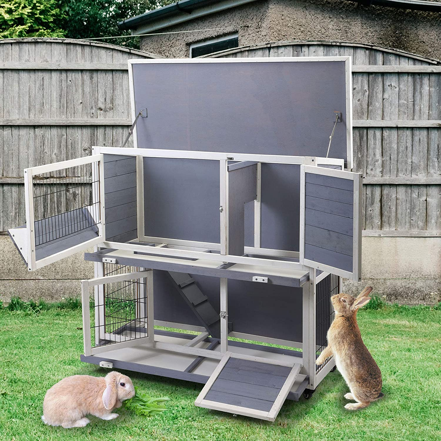 Sandinrayli Wood Double-Tier Rabbit Hutch Pet Cage Bunny House with Flip-up Roof Indoor /& Outdoor Use