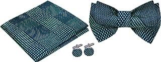 Twenty Dollar Tie Men`s Houndstooth Pre-Tied Bow Tie Pocket Square Cuff-links Set