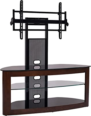 """TransDeco TV Stand with with Mount, 35"""" - 80"""", Dark Oak/Black"""