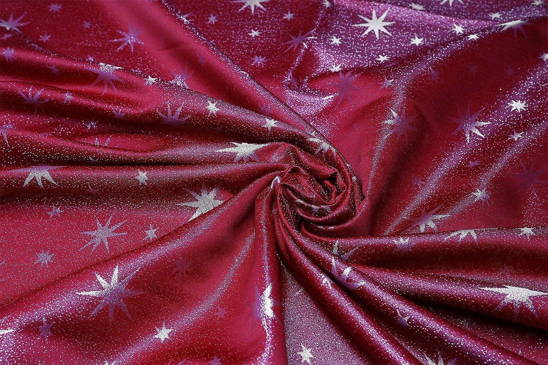 Eckig 130x170 cm Rot-Silber Weihnachtstischdecke Gr/ö/ße w/ählbar Gold oder Silber gl/änzend Lurex Sterne Tischdecke