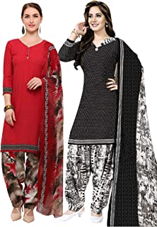 Rajnandini Women's Red and Black Crepe Printed Unstitched Salwar Suit Material (Combo Of 2) (Free Size)