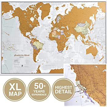 Maps International Scratch The World Travel Map - Scratch Off World Map Poster - X-Large 23 x 33 50 Years of Map Making - Cartographic Detail Featuring Country & State Borders