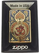 Zippo Custom Lighter - Hindu Om Aum Religious Spiritual Logo Fuzion - High Polish Brass