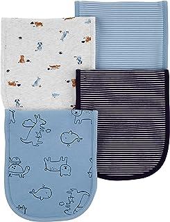 Carter's Baby Boys 4 Pack Cotton Burp Cloths (Blue/Heather/Stripes)