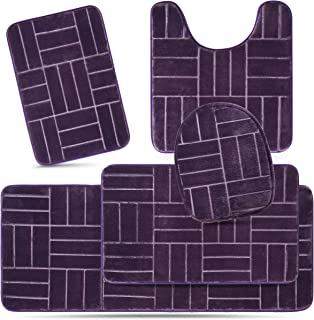 Effiliv Bathroom Rugs Set 5 Piece Memory Foam Mats, Extra Soft Anti-Slip Shower Large Bath Rug Mat – Happy Feet, Happy Life, Purple Line Design