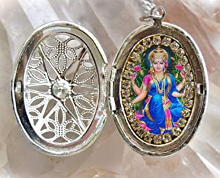 Goddess Lakshmi Handmade Locket Necklace Hindu Jewelry Medal Pendant
