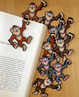 Monkey Bulk Bookmarks for Kids Girls Boys - Set of 10 - Perfect for School Student Incentives Birthday Party Supplies Read...