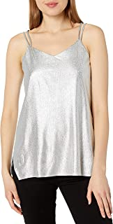 Halston Heritage Women's Sleeveless Double Strap Metallic Jersey Cami