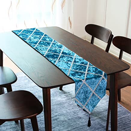 """Top Finel Table Runners Shiny Diamond Pattern - Cotton Canvas Fabric Table Top Decoration Home Decor for Outdoor Wedding Party(11"""" W x 71"""" L, 28 x 180 cm, Teal)"""