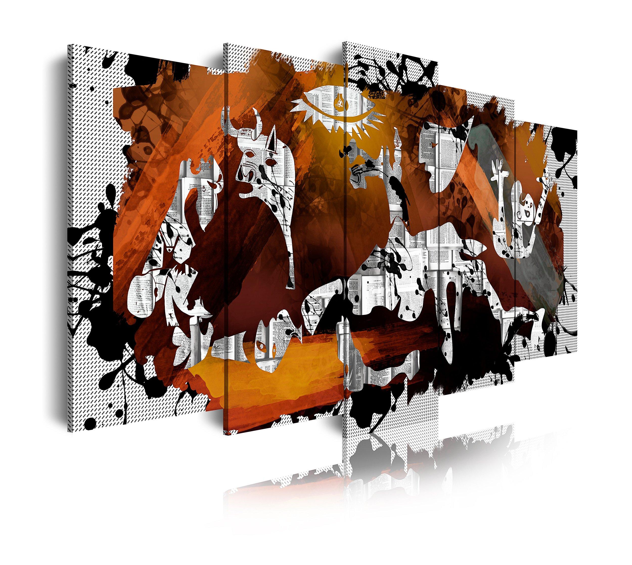 DekoArte 428 - Cuadros Modernos Impresión de Imagen Artística Digitalizada | Lienzo Decorativo para Tu Salón o Dormitorio | Estilo Abstractos Arte Picasso Guernica | 5 Piezas 200 x 100 cm XXL: Amazon.es: Hogar