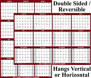 "24"" x 36"" SwiftGlimpse 2021 Wall Calendar Erasable Large Wet & Dry Erase Laminated 12 Month Annual Yearly Wall Planner, Reversible, Horizontal/Vertical, Maroon"