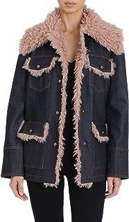 Women's Denim Trucker Jacket with Mongolian Faux Fur Details