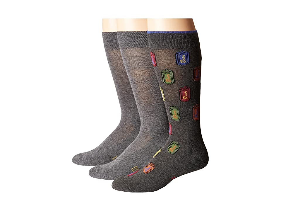 HUE Beer Socks with Half Cushion 3-Pack (Dark Graphite Heather Pack) Men's Crew Cut Socks Shoes, Black